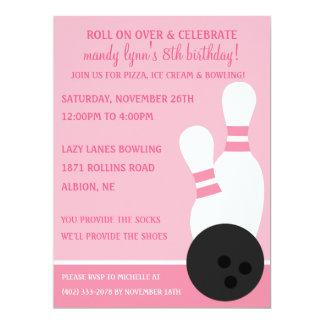 Bowlingfödelsedagsfest för Princess Rosa Rullning 16,5 X 22,2 Cm Inbjudningskort