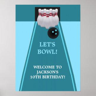 Bowlingfödelsedagsfestaffisch Print