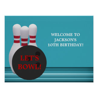 Bowlingfödelsedagsfestaffisch Posters