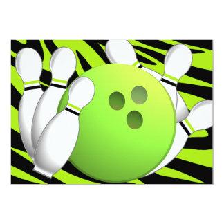 Bowlingneongrönt och sebra 12,7 x 17,8 cm inbjudningskort