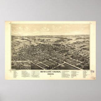 Bowlsplan Ohio 1888 antika panorama- karta Poster