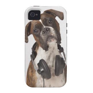 Boxarehund med hörlurar