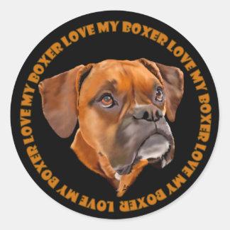 Boxarehund Runt Klistermärke