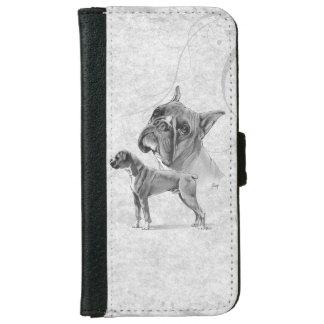 Boxarehundar ritar teckningen plånboksfodral för iPhone 6/6s