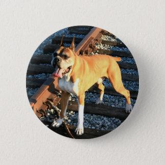 Boxarehunden på järnväg spårar knäppas standard knapp rund 5.7 cm