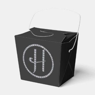 Boxas den bling favören för H-monogram Presentaskar