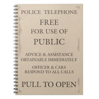 Boxas den offentliga appelltelefonen för polisen anteckningsbok
