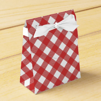 Boxas den rutiga mönsterfavören för röd Gingham Presentaskar
