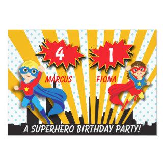 Boy and Girl Superhero Birthday 12,7 X 17,8 Cm Inbjudningskort
