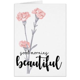 Bra morgon som är härlig med nejlikor hälsningskort