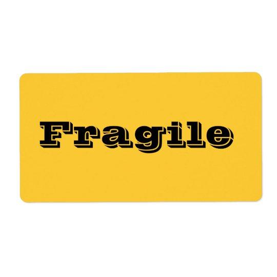 Bräckliga flyttaetiketter i gul orange fraktsedel