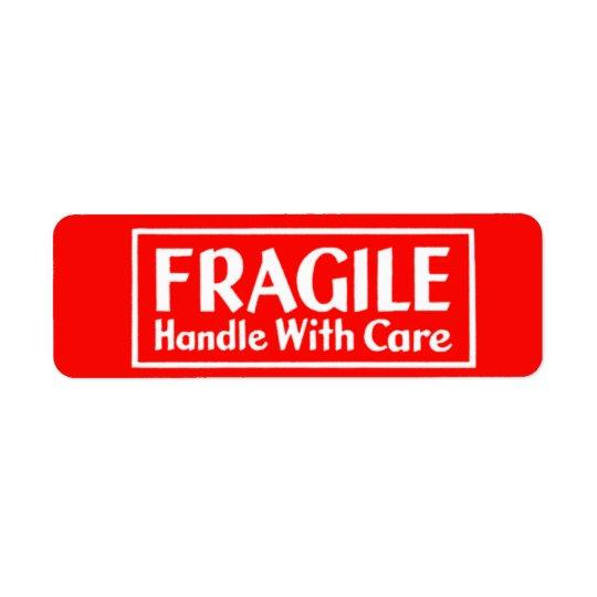 Bräckligt handtag med omsorgvarningsetiketten returadress etikett