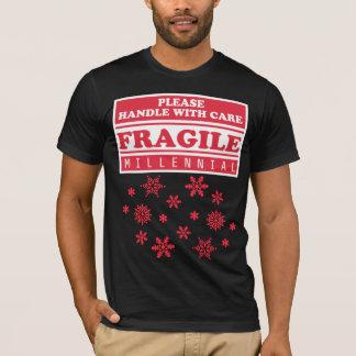 Bräckligt Millennial, handtag med omsorgsnöflingor Tee Shirt