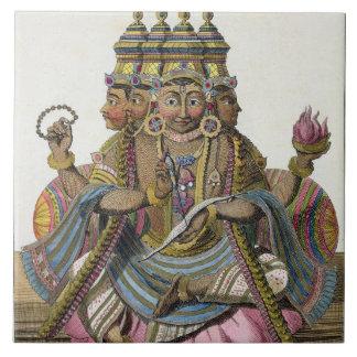 Brahma hinduisk gud av skapelsen, från 'den hjälpr kakelplatta