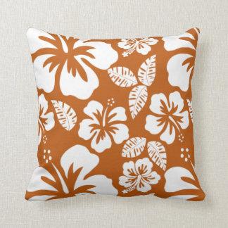 Bränd orange tropisk hibiskus kudde