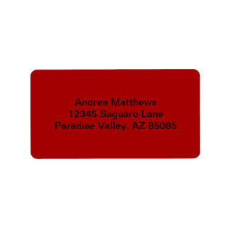 Bränd röd fast färg adressetikett