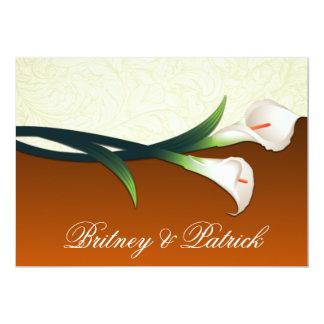 Brända orange inbjudningar för bröllop för