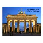 Brandenburg grind i Berlin, Tyskland på natten Vykort