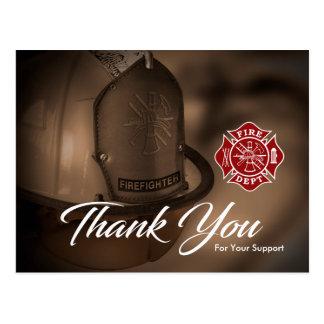 Brandmannen/avfyrar avdelnings-tackvykortet vykort