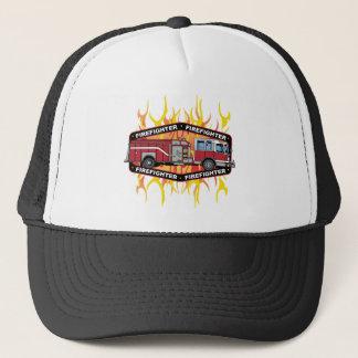 Brandmannen avfyrar lastbilen truckerkeps
