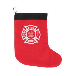 Brandmannen avfyrar räddingen stor julstrumpa