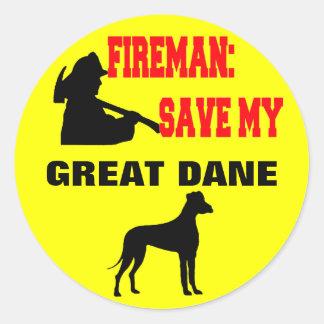 Brandmanspara min great dane runt klistermärke