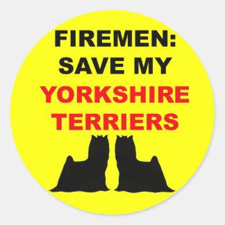 Brandmanspara min Yorkshire Terriers Runt Klistermärke
