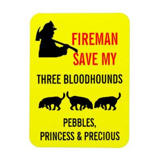 Brandmansparan min tre spårhundar avfyrar säkerhet magnet