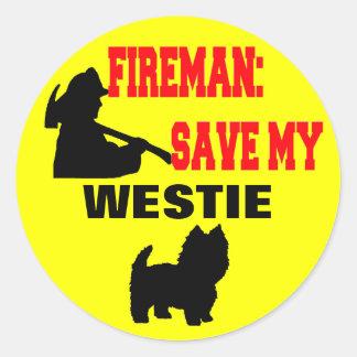 Brandmansparan min Westie hund avfyrar säkerhet Runt Klistermärke