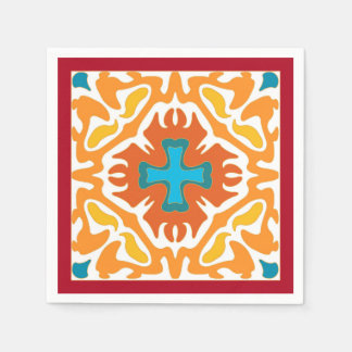 Brännhet orangeabstrakt med blåttbrytningar servetter