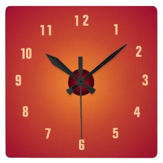 Bränt orange Clock> kök tar tid på Fyrkantig Klocka