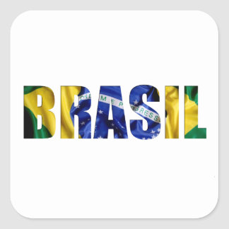 Brasil flagga fyrkantigt klistermärke
