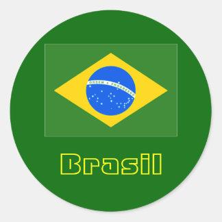 Brasil rundaklistermärkear 4 runt klistermärke