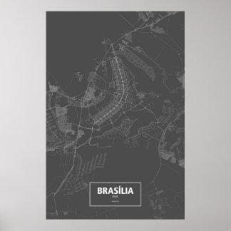 Brasília Brasilien (vit på svart) Poster