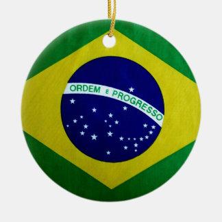 Brasiliansk flagga för vintagelook julgransprydnad keramik