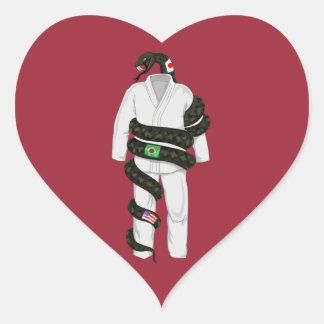 Brasiliansk Jiu Jitsu orm Hjärtformat Klistermärke