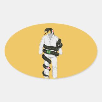 Brasiliansk Jiu Jitsu orm Ovalt Klistermärke