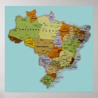 Brasiliansk kartaaffisch poster