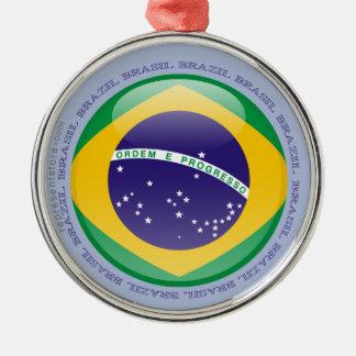 Brasilien bubblar flagga rund silverfärgad julgransprydnad