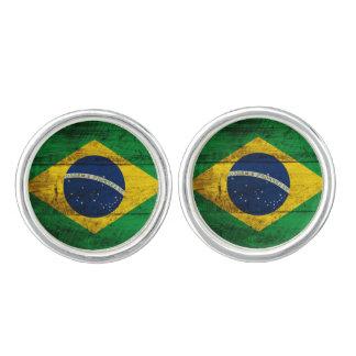 Brasilien flagga på gammalt Wood korn Cufflinks