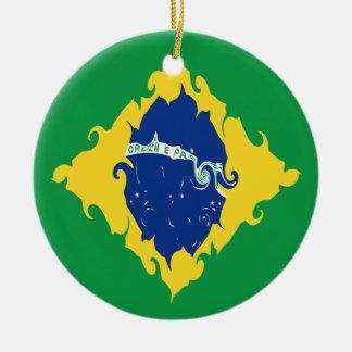 Brasilien Gnarly flagga Rund Julgransprydnad I Keramik