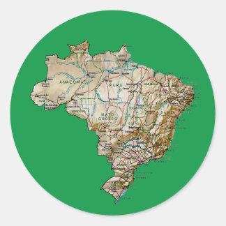 Brasilien kartaklistermärke runt klistermärke