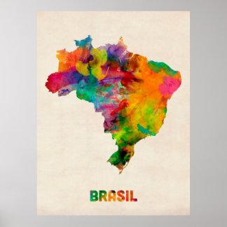 Brasilien vattenfärgkarta poster