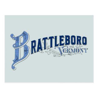 Brattleboro Vermont, Windham County logotyppos. Vykort