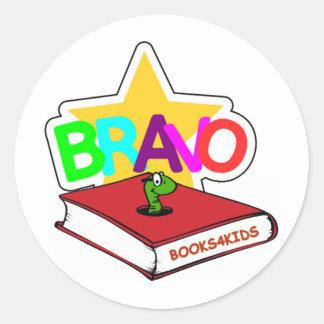 Bravostjärna för bokmalar runt klistermärke