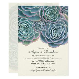 Bred suckulent gränsbröllopinbjudan 12,7 x 17,8 cm inbjudningskort