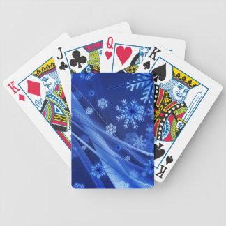 Breezy Christmastime snöflingor på blått Spelkort