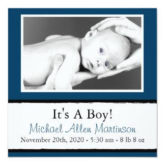 Breezy (marinblåa) nyfödd bebisfotomeddelanden, fyrkantigt 13,3 cm inbjudningskort