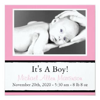 Breezy nyfödd bebisfotomeddelanden (rosor) fyrkantigt 13,3 cm inbjudningskort