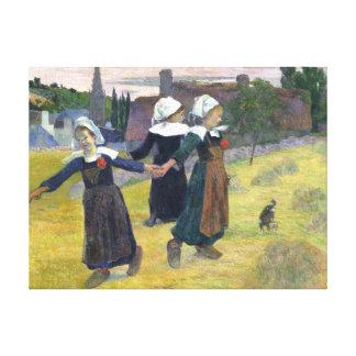 Breton flickor som dansar vintagemålning canvastryck